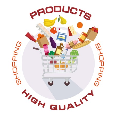 purchased: colored illustration shopping cart with the products of fruits and vegetables Illustration
