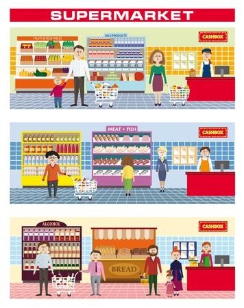 ilustración en color de una familia de compras en un supermercado
