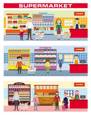 color illustration of a family shopping in a supermarket Illustration