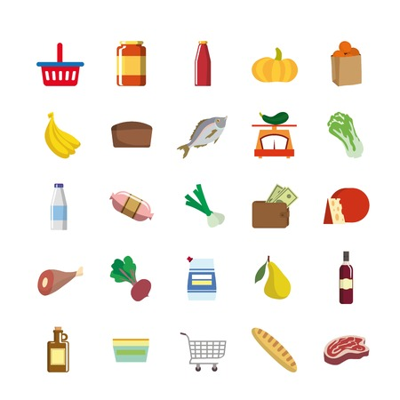foodstuffs: foodstuffs set of colored vector icons on a white background Illustration