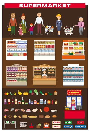 foodstuff: color illustration of a family shopping in a supermarket Illustration