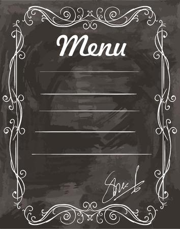 blanck: menu template with chalk on a black background Illustration