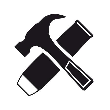 martillo: Negro martillo y un cincel icono sobre un fondo blanco