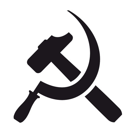 Schwarz Symbol Hammer und Sichel auf einem weißen Hintergrund