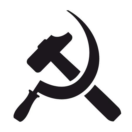 Zwart pictogram hamer en sikkel op een witte achtergrond