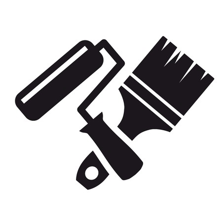 sampler: Black icon Paintbrush and roller on a white background