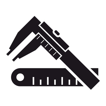 caliper: Black icon vernier calipers and ruler on a white background