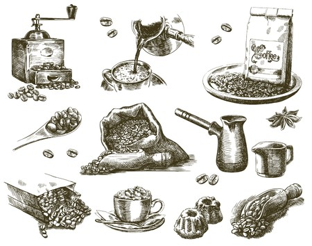 burlap: compilation of  sketches of natural coffee beans on a white background Illustration