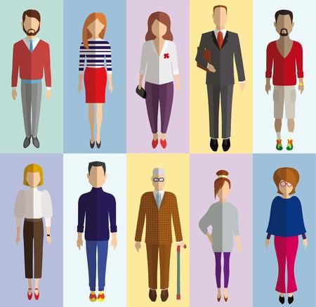 graficos: coloridos iconos de la gente planas sobre un fondo de color