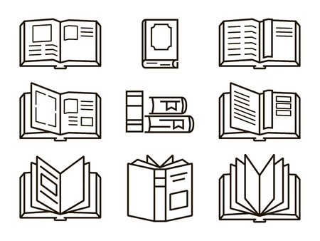 reads: Black flat books icons on a white background