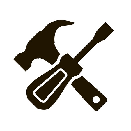 engineering tool: Black icon hammer and screwdriver on a white background