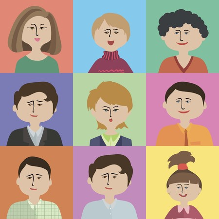 middle aged woman: colorful flat people icons on a color background