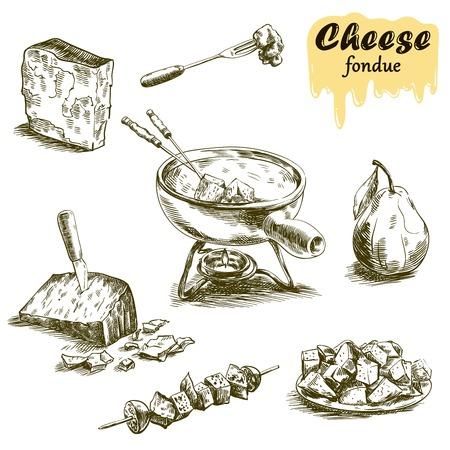 白い背景の上のチーズ ・ フォンデュの描かれたスケッチを手します。