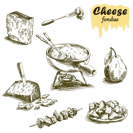 fondue: hand drawn sketches of cheese fondue on a white background