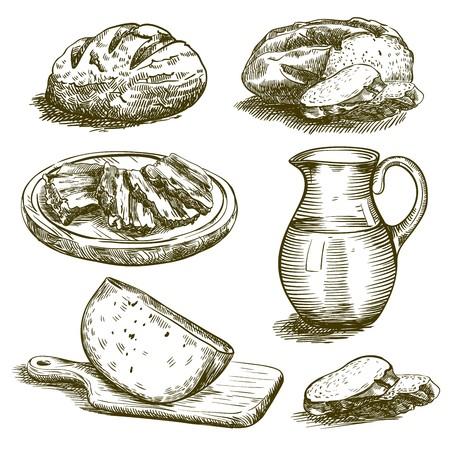 produits alimentaires: croquis dessinés à la main des produits naturels sur un fond blanc
