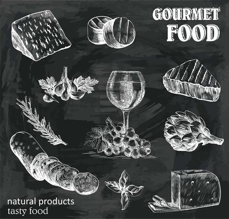 bocetos dibujados a mano de productos naturales en un fondo negro