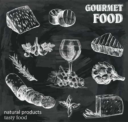 disegnati a mano schizzi di prodotti naturali su uno sfondo nero