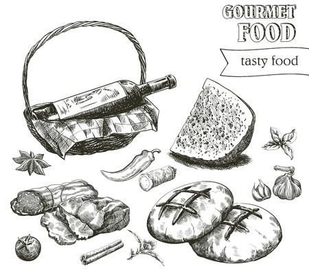 productos naturales: bocetos dibujados a mano de productos naturales en un fondo blanco Vectores