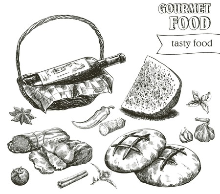 foodstuffs: hand drawn sketches of natural products on a white background
