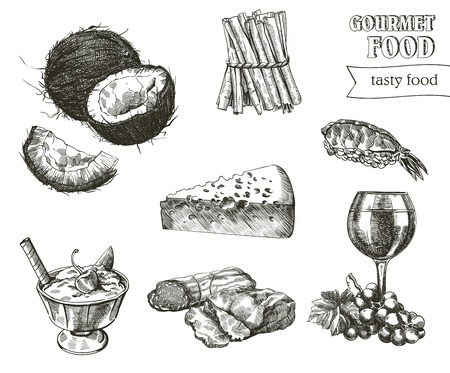 compilation: hand drawn sketches of natural products on a white background