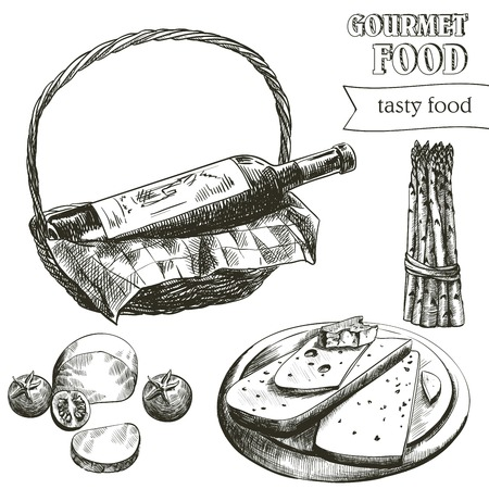 collectible: hand drawn sketches of natural wine and snacks on a white background