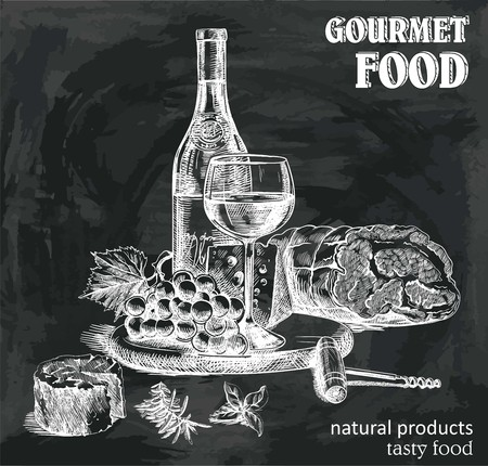 bocetos dibujados a mano de vino natural y aperitivos en un fondo negro