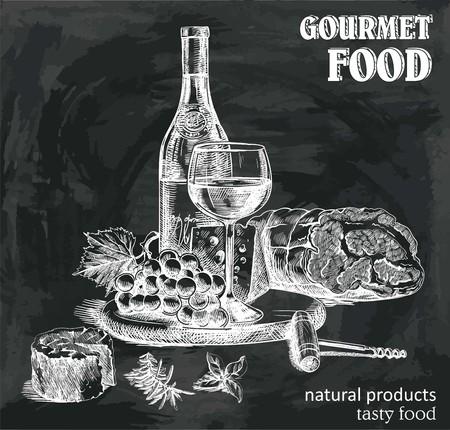 croquis dessinés à la main du vin naturel et des collations sur un fond noir