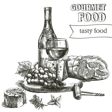 handgetekende schetsen van natuurlijke wijn en snacks op een witte achtergrond Stock Illustratie