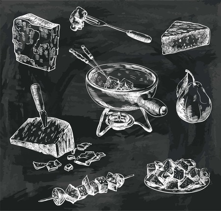 compilation: hand drawn sketches of cheese fondue on a white background