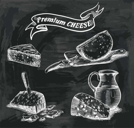 hand drawn sketches of natural cheese on a black background