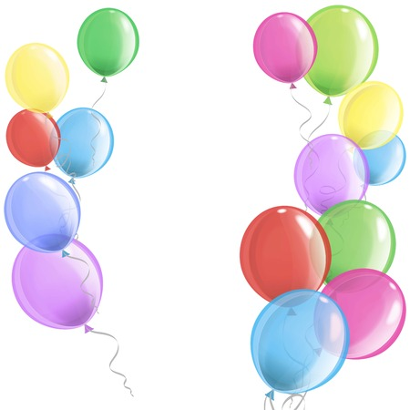 helium: colorful balloons filled with helium on white background
