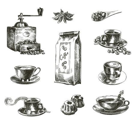 chicchi di caff?: compilazione di disegnati a mano schizzi di caffè naturale su uno sfondo bianco Vettoriali