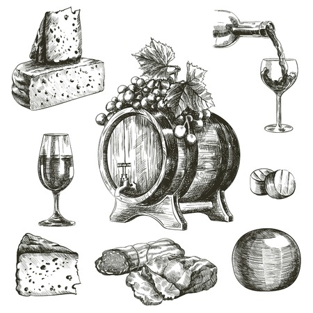 hand drawn sketches of natural wine and snacks on a white background