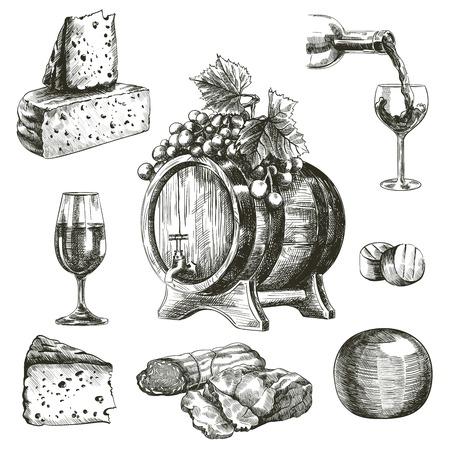 handgetekende schetsen van natuurlijke wijn en snacks op een witte achtergrond