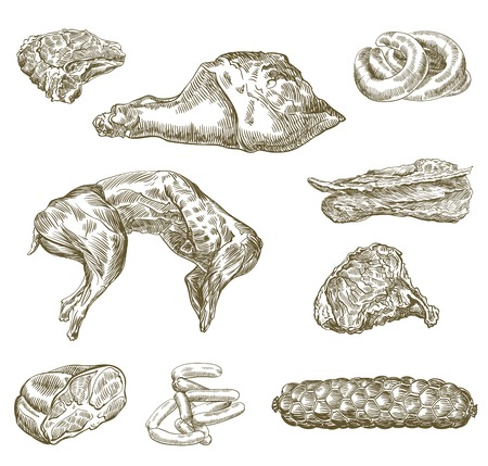 compilation of hand drawn sketches of natural meat and products made from it on a white background