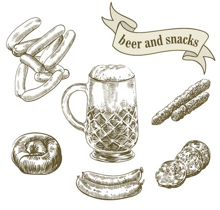 compilation: hand drawn sketches of draft beer and snacks on a white background
