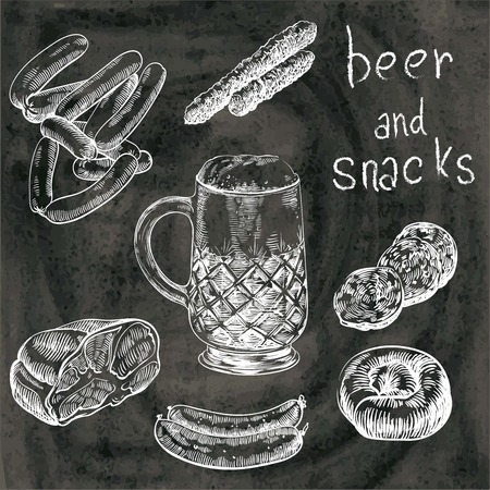 hand drawn sketches of draft beer and snacks on a black background