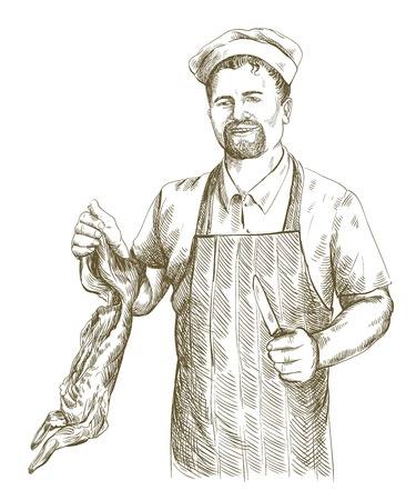 cut up: hand drawn sketches of butcher who cut up carcass of the rabbit on a white background Illustration