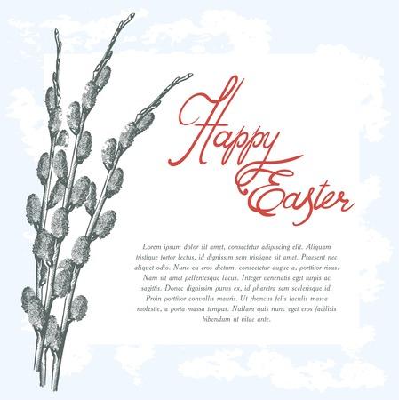 bocetos dibujados a mano de la tarjeta de felicitación de Pascua en un fondo azul