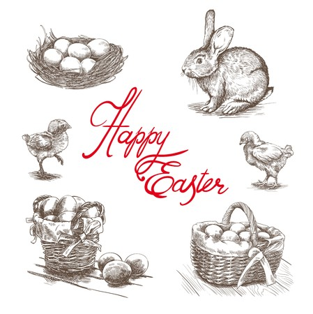 attributes: hand drawn sketches of  happy Easter attributes on a white background