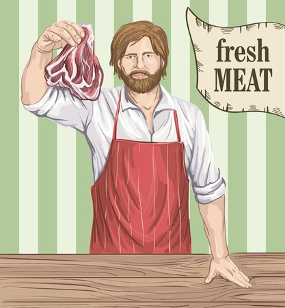 carcass meat: hand drawn sketches of butcher that offers fresh meat on a color background