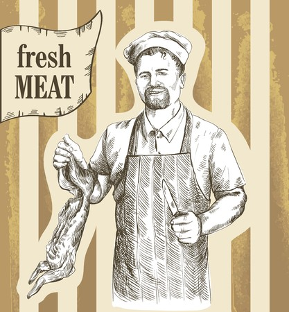 carcass: handgetekende schetsen van slager die gesneden karkas van het konijn op een gekleurde achtergrond