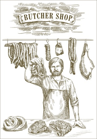 carcass meat: hand drawn sketches of butcher that offers fresh meat on a white background