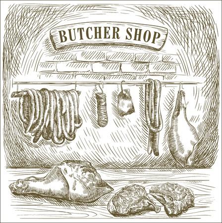 compilación de mano dibuja bocetos de carne natural y productos derivados de éste