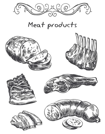foodstuff: hand drawn sketches meat products of on a white background