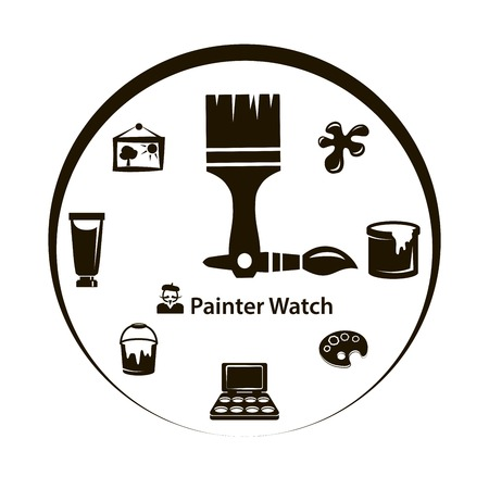 artists: Black icon improvised wall clocks painter on a white background