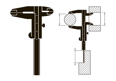 calliper: Black icon vernier caliper  and methods of measurement on a white background