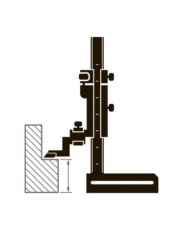 vernier: Black icon shtangenreysmas and methods of measurement on a white background