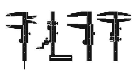 vernier: Black icon vernier caliper  and shtangenreysmas on a white background