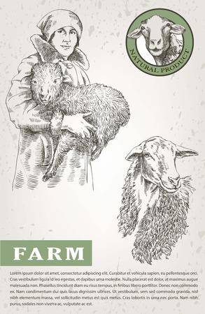 農家の女性両手で子羊を保持しています。白い背景の上の手によって作られたスケッチします。 写真素材 - 54726737